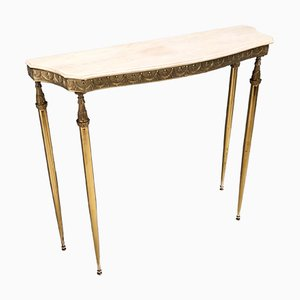 Mid-Century Console with a Portuguese Pink Marble Top and Brass Frame, Italy