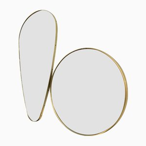 Brass-Plated Mirrors, Set of 2