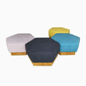 Italian Modular Pouf in Wood and Brass, 1980s, Set of 4