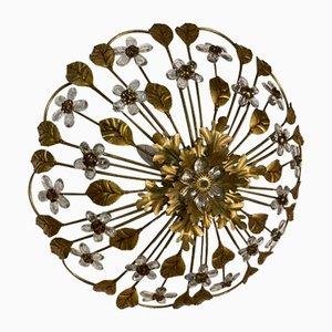 Large Italian Gold Gilded Tole Crystal Flower Flush Mount, 1960s