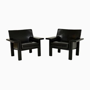 Italian Vintage Leather Armchairs by Tobia & Afra Scarpa, Set of 2