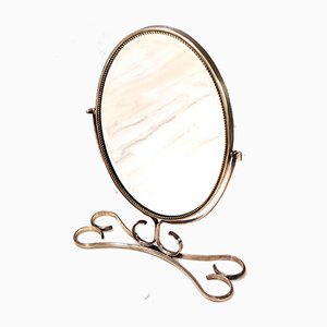 Mid-Century Vanity Mirror with a Brass Frame, Italy