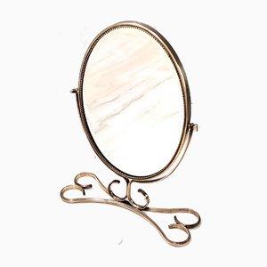 Specchio da toeletta Mid-Century con cornice in ottone, Italia