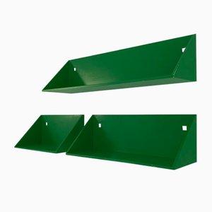 Green Wall Shelves by Anna Castelli Ferrieri for Kartell, 1970s, Set of 3