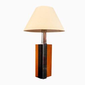 Lampada da tavolo in legno e acciaio, Italia, anni '70
