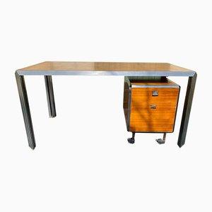 Vintage Schreibtisch aus verchromtem Stahl & Eschenholz von Bernard Marange für TFM, 1970er