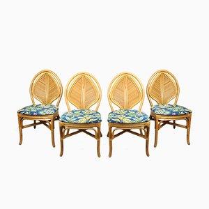 Französische Vintage Rattan Jungle Chairs, 4er Set