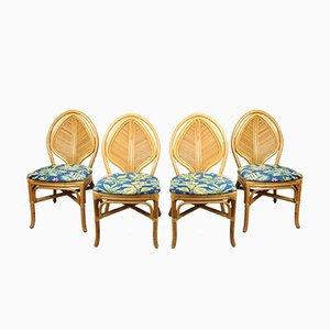 Vintage French Rattan Jungle Chairs, Set of 4
