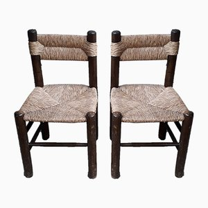 Brutalist Straw Chairs, Set of 2
