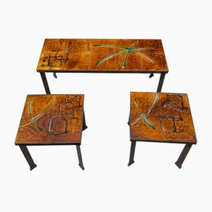 French Side Tables, 1970s, Set of 3
