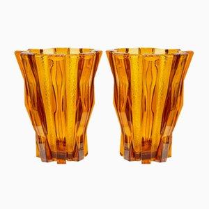 Französische Modernistische Glasvasen von Daum, 2er Set