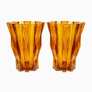 French Modernist Glass Vases from Daum, Set of 2