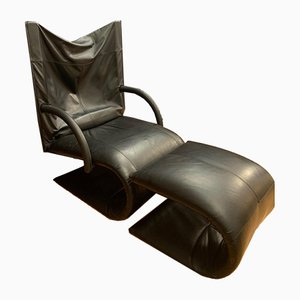 Zen Armchair with Footstool by Claude Brisson for Ligne Roset, France, 1980s, Set of 2
