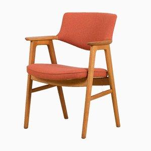Oak Desk Chair in Pale Red Wool Upholstery by Erik Kirkegaard