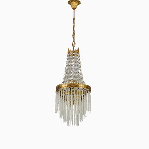 Vintage Crystal Glass and Brass Chandelier with Glass Rods