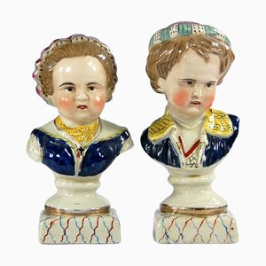 Antique Staffordshire Busts, Set of 2