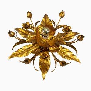 Vergoldete Metall Deckenlampe in Blumenform