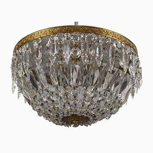 Art Deco Stil Kristallglas und Messing Einbaulampe