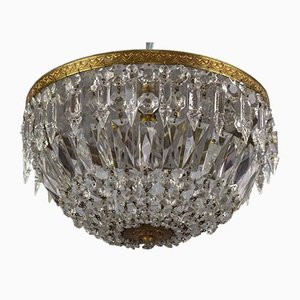 Art Deco Style Crystal Glass and Brass Basket Flush Mount