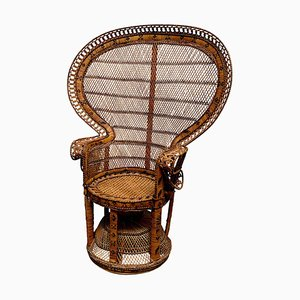 Emmanuelle Peacock Throne Armchair in Wicker with High Back