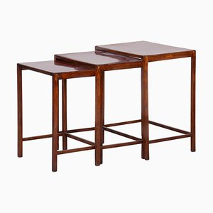 Czech Brown Nesting Tables by Halabala, 1930s
