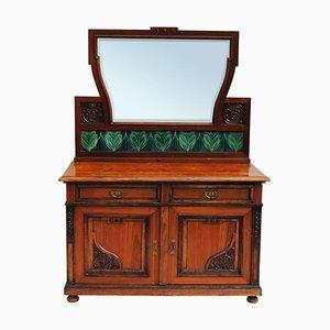 Czech Art Nouveau Dressing Table with Mirror in Walnut, 1910s
