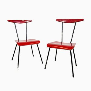 Vintage Red & Black Chairs by Wim Rietveld for Auping, Set of 2