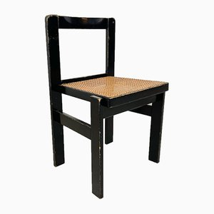 Vintage Black Chair with Cane Seat