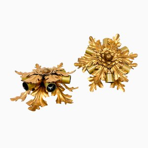 Small Vintage Golden Flower Ceiling Lamps from Banci Firenze, Set of 2
