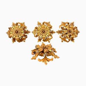 Mittelgroße Vintage Deckenlampen mit goldenen Blumen von Banci Firenze, 4er Set