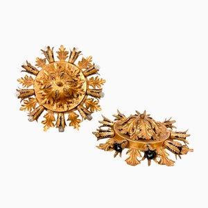Große goldene Vintage Deckenlampen von Banci Firenze, 2er Set
