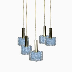 Space Age Brass & Glass Cascading Lamp from Doria, 1960s