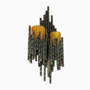 Brutalistische Glas Wandlampe von Marcello Fantoni, 1960er