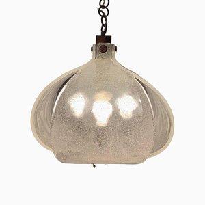 Lampada da soffitto in vetro di Murano e metallo cromato di Kaiser, anni '60