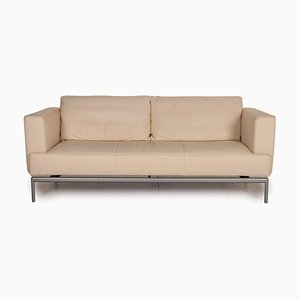 Beige Leather 2-Seater Sofa from FSM