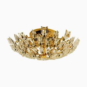 Italienische Lampe aus Kristallglas & Vergoldetem Messing von Stilkronen