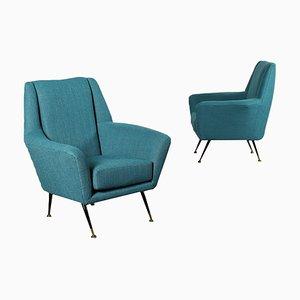 Foam, Metal, Brass & Fabric Armchairs, Italy, 1950s, Set of 2
