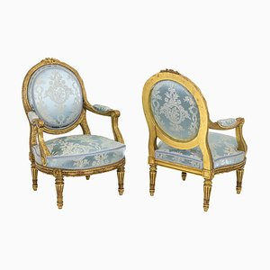 Louis XVI Style Armchairs in Gilded Wood, 1880, Set of 2