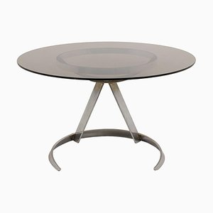 Round Table in Chromed Metal and Smoked Glass by Boris Tabacoff, 1970s
