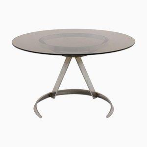 Runder Tisch aus verchromtem Metall & Rauchglas von Boris Tabacoff, 1970er