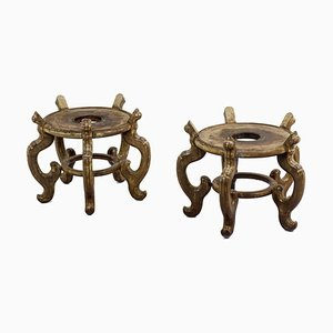 Asian Style Plinths in Ironwood, 1900s, Set of 2