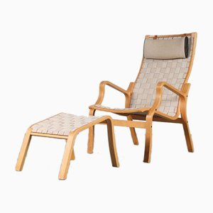 Chair and Stool by Finn Ostergaard for Skipper, Denmark, 1970s, Set of 2