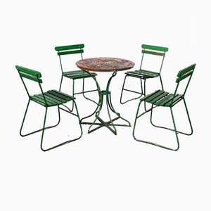 French Green Garden Set with Table and Four Chairs, 1940s