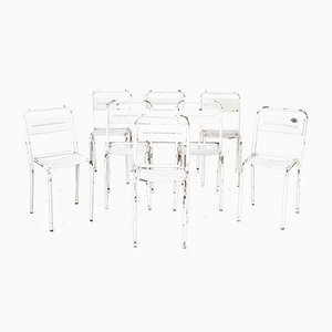 French White Metal Stacking Outdoor Chairs, 1950s, Set of 8