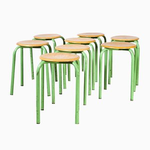 French Stacking School Stools in Mint, 1960s, Set of 8