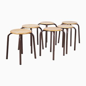 French Brown Stacking School Stools, 1960s, Set of 6