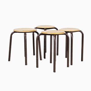 French Stacking School Stools in Brown, 1960s, Set of 4