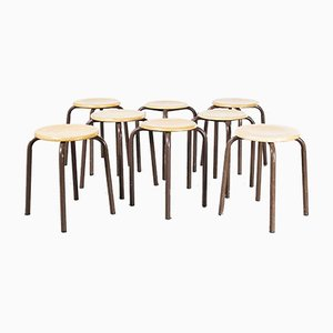 French Stacking School Stools in Brown, 1960s, Set of 8