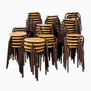 French Stacking School Stool in Brown, 1960s