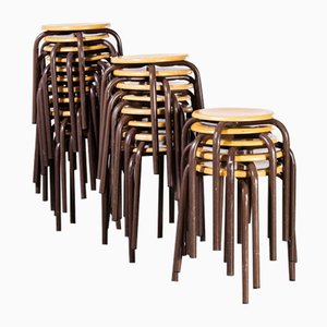 French Stacking School Stools in Brown, 1960s, Set of 24